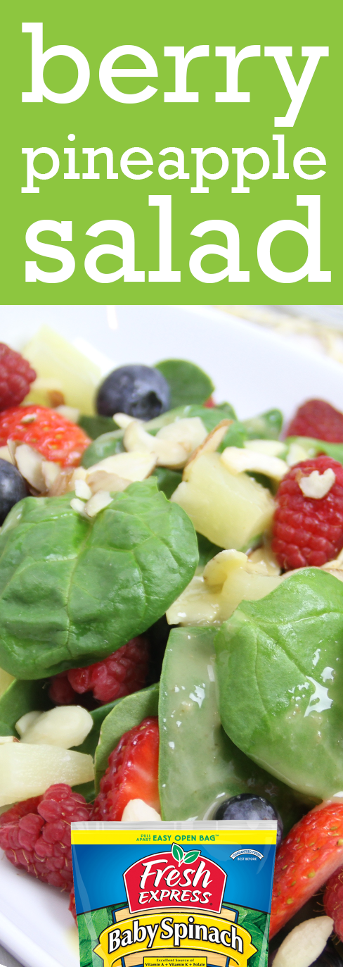 Our Berry Pineapple Salad features spinach, strawberries, pineapple and blueberries for a crisp, light salad perfect anytime.