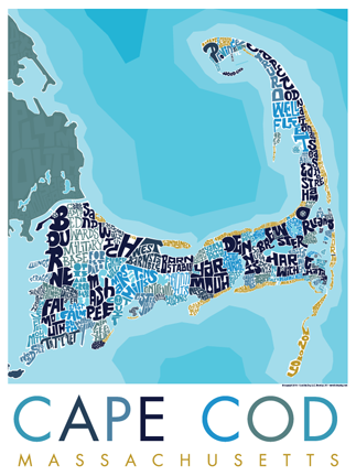 Cape Cod Type Map Poster To Get How To Draw Hands Cape Cod - Cape-cod-on-us-map
