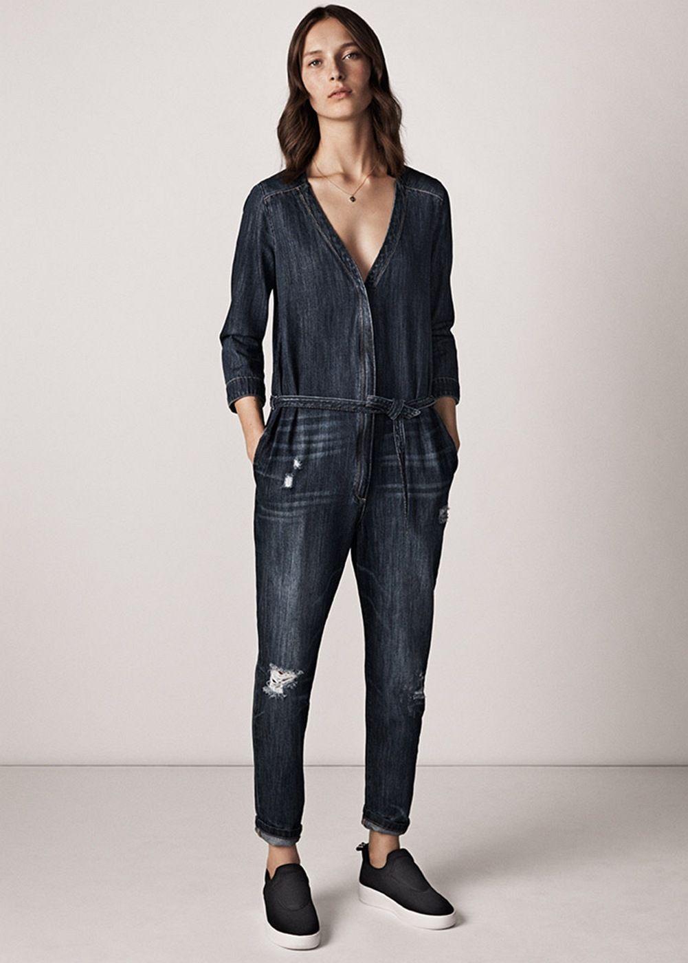 Dark denim jumpsuit. Dark denim jumpsuit Combinaison Jean, Collection  Printemps Été 2015, Jumpsuit Mango, Combinaison En dc9b870d907d