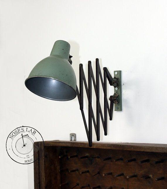 Lampada Industriale da Parete a fisarmonica (pantografo) #wallamp #lampadaindustriale # ...