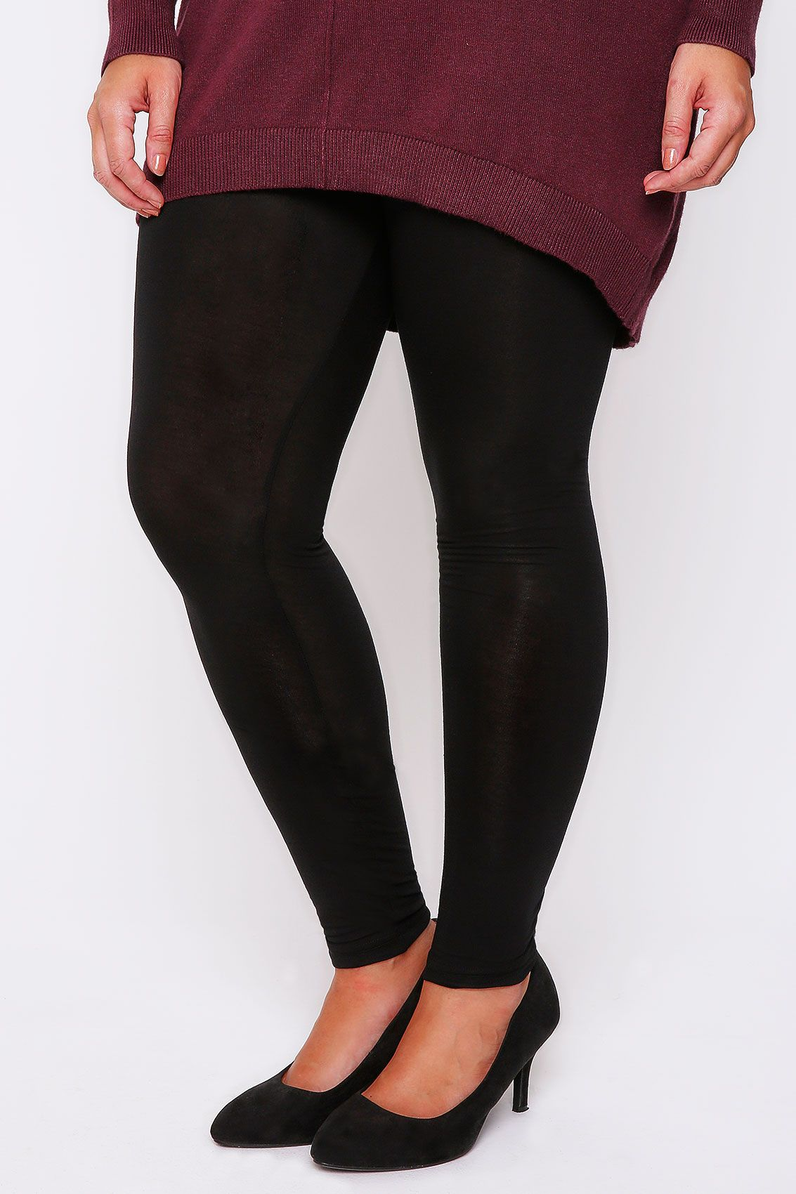 617a4ff996d97 Black Viscose Elastane Full Length Leggings