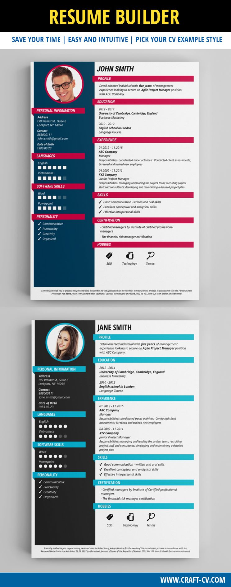Resume Builder - Creative Resume Templates #creativeresume #resume ...