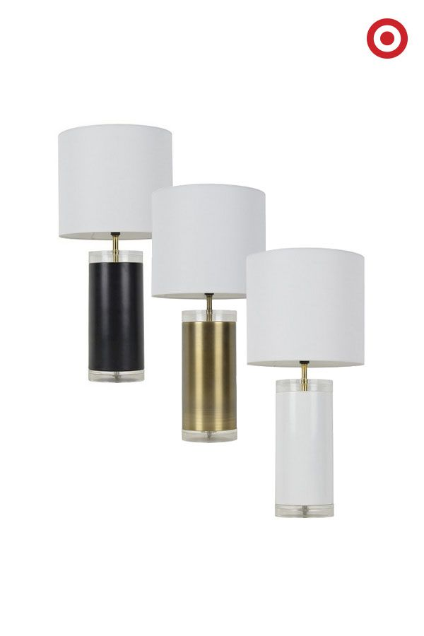 Light It Up With The Room Essentials Acrylic Table Lamp In Ebony, White Or  Gold