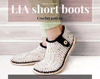 202b6b132c567 Crochet pattern- men basic clogs with rope soles,soles pattern ...