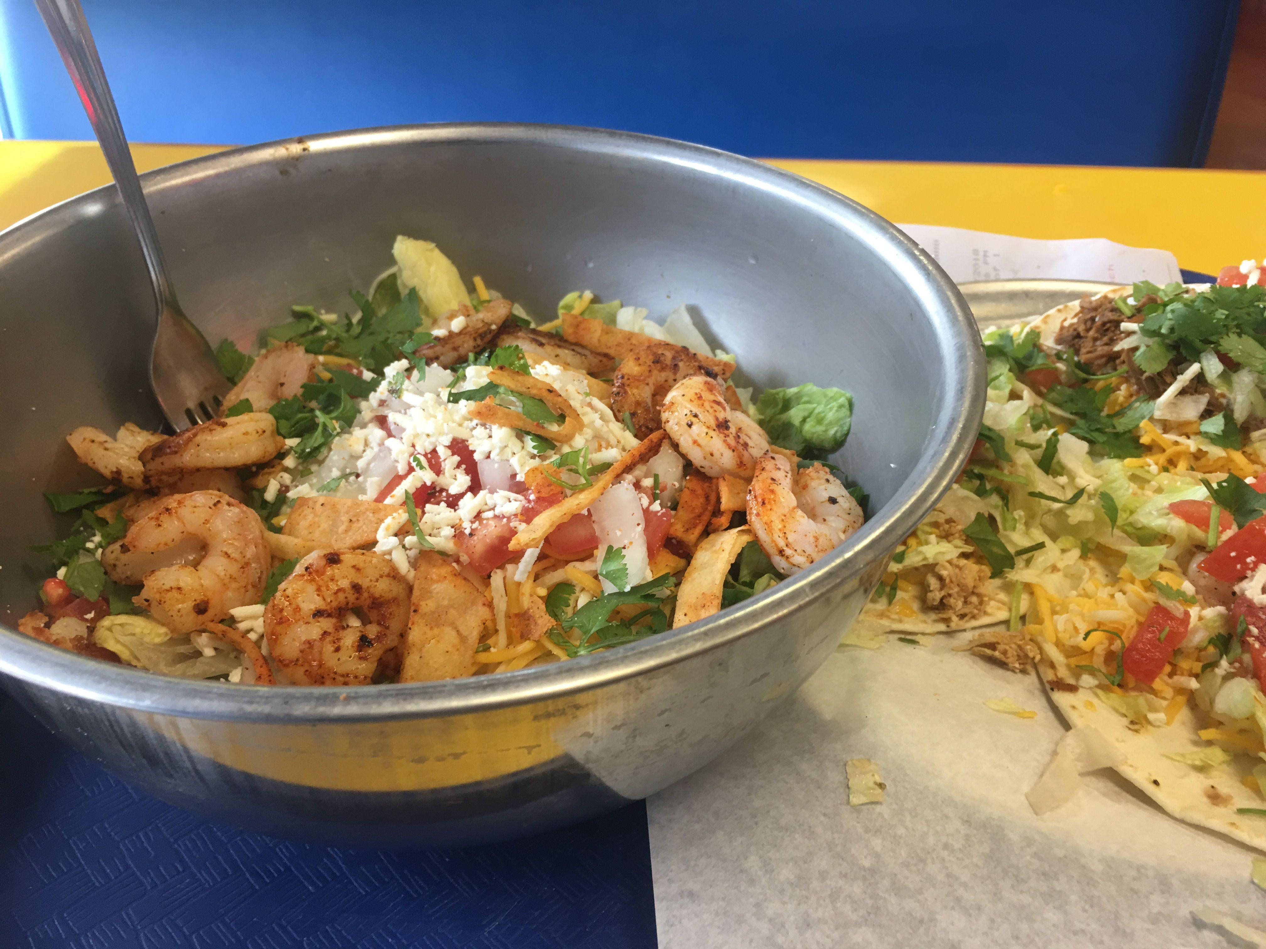 Shrimp salad it was good shrimp salad grilled taco