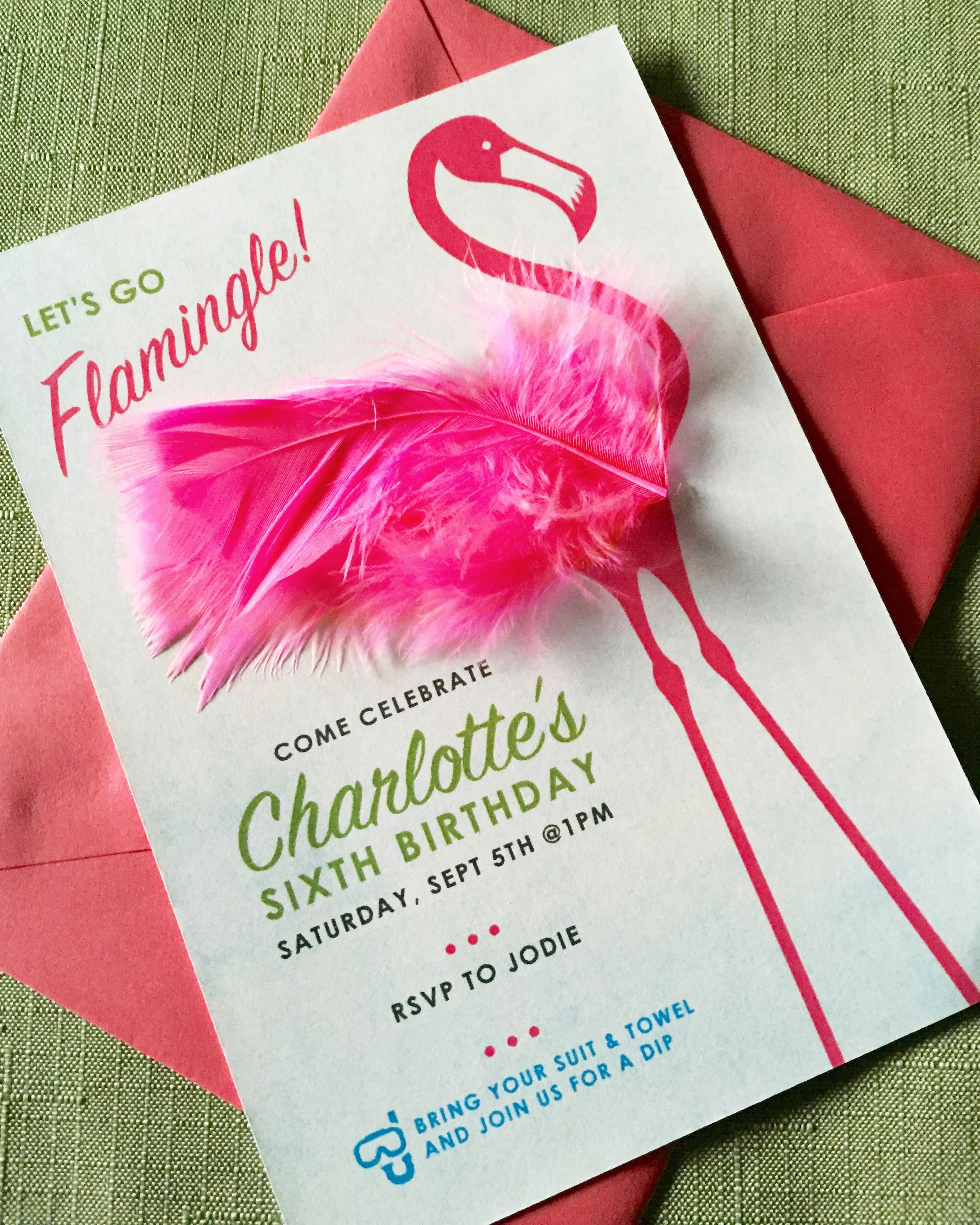 Little girls flamingo themed birthday party invitations original little girls flamingo themed birthday party invitations original layout and design with craft store stopboris Choice Image