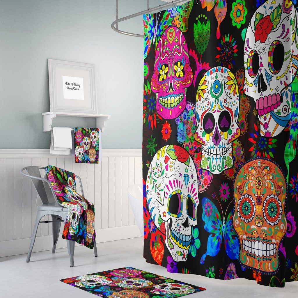 Day of the Dead Skeleton Dance 100/% Polyester Fabric Bathroom Shower Curtain Set