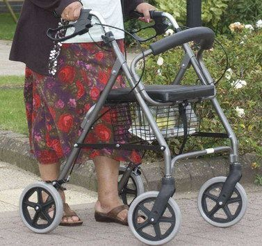 Walking Frame Seat Basket Pushed By Woman   Disability And Elderly ...