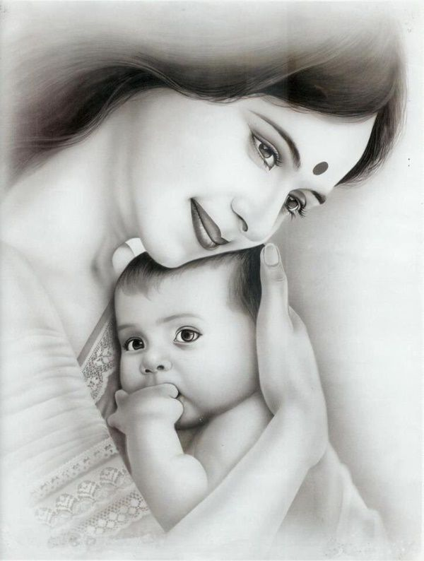 60 Simple Pencil Mother And Child Drawings In 2020 Mother And Baby Paintings Mother And Child Drawing Baby Art Pictures