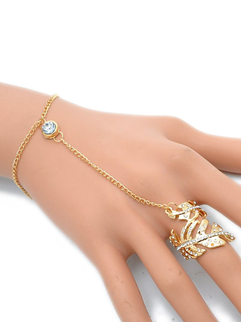 Chain bracelet with leaf shaped ring in jewelry pinterest