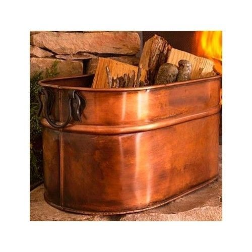 copper firewood tub wood holder for fireplace cast iron stove indoor log storage
