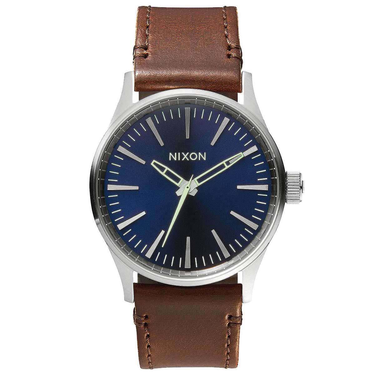 Nixon A3771524 Men's Sentry 38 Blue Dial Brown Leather Strap Watch