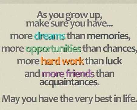 My Wishes for you My Friend As you grow up make sure you have - best wishes in life