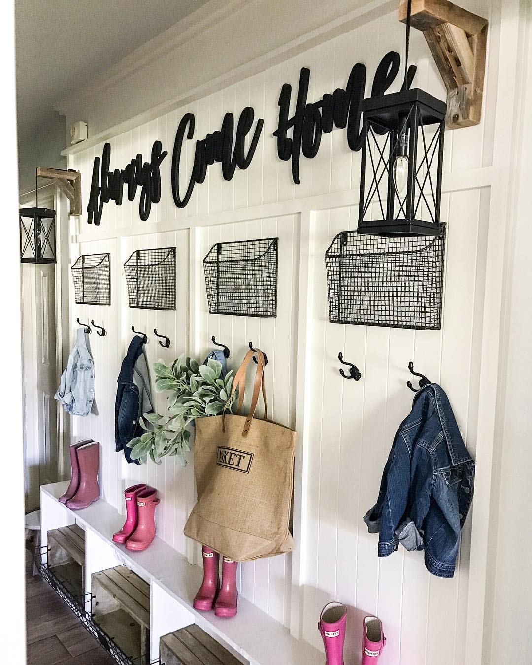 Welcome Your Guests With An Impeccably Organized Entryway: CottonStem.com Farmhouse Mudroom Hallway Entryway