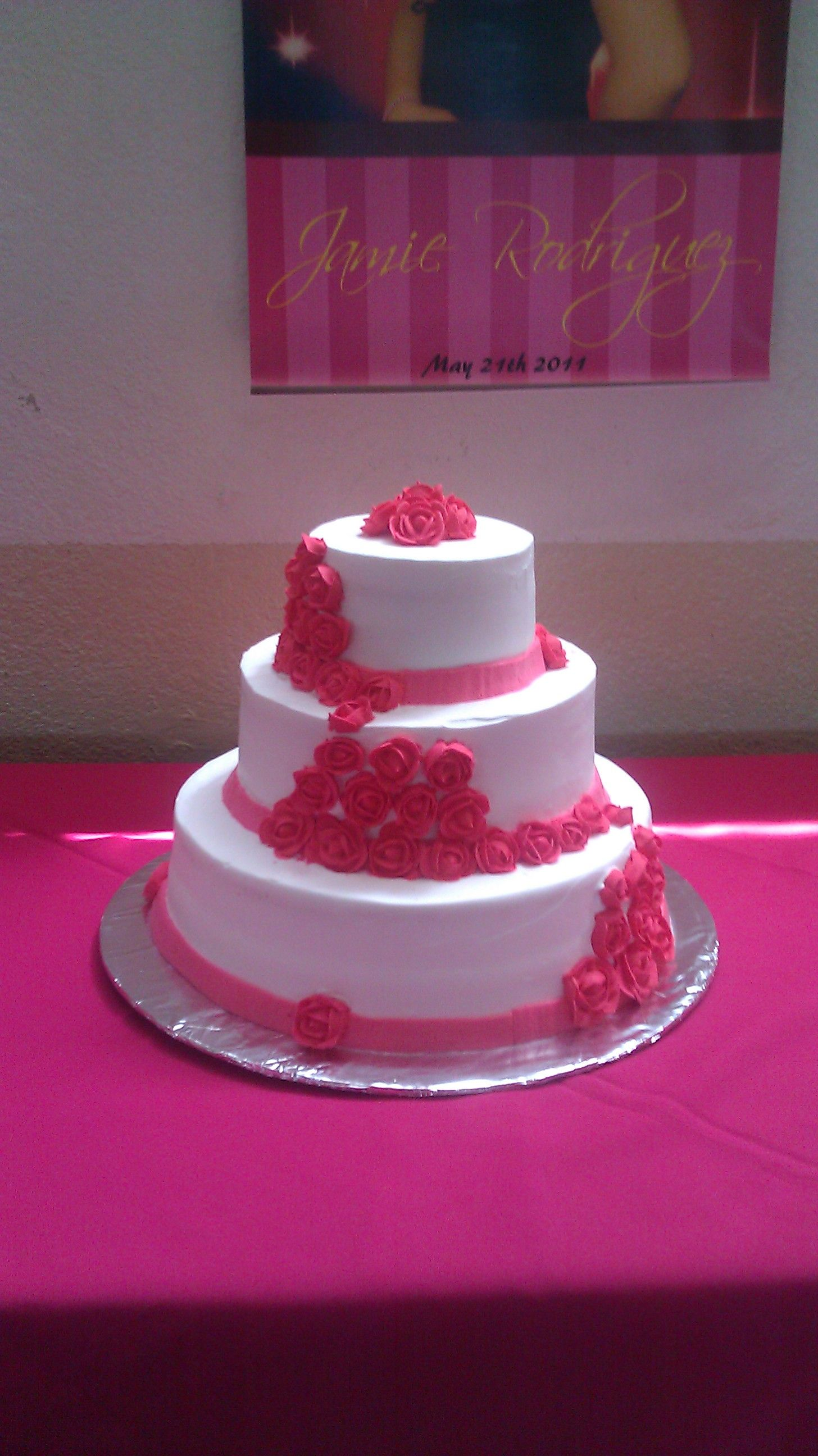 Pink inspirations - 3 tier chocolate cake Fill with cream ...