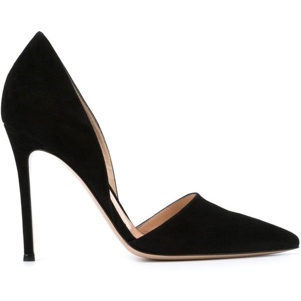 Gianvito Rossi Lena Pumps (€465) ❤ liked on Polyvore featuring shoes, pumps, heels, high heels, sapatos, black, high heel stilettos, black pumps, black heeled shoes and black pointed toe pumps