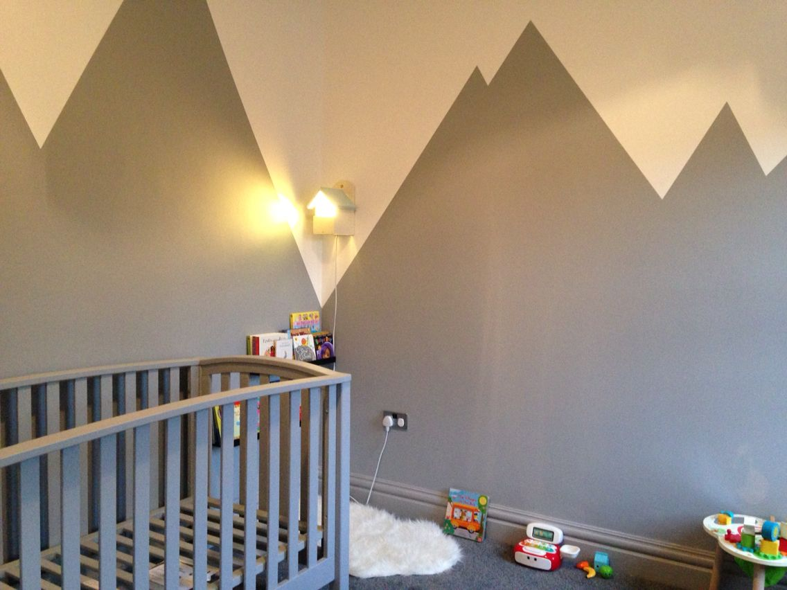 Grey walls painted in mountain design for baby boys nursery Grey ...