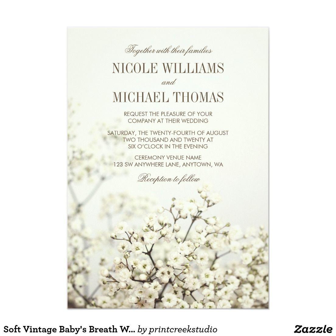 Soft Vintage Baby S Breath Wedding Invitations Zazzle Com Babys Breath Wedding Wedding Invitations Romantic Vintage Wedding Invitations Romantic