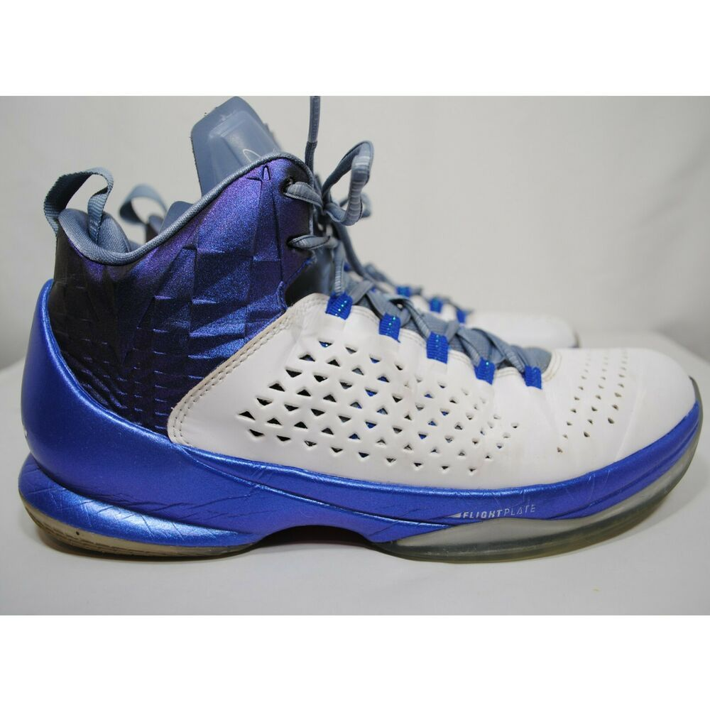 59fc7492e762 Nike Jordan Melo M11 White Royal Blue Basketball Shoes Mens 716227-105 US10  UK9