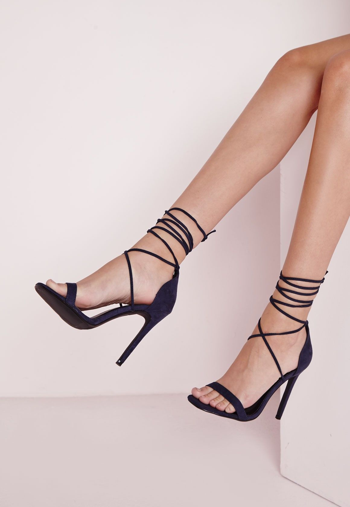 37d3533ccb22 Lace Up Barely There Heeled Sandals Navy - Shoes - High Heels - Missguided