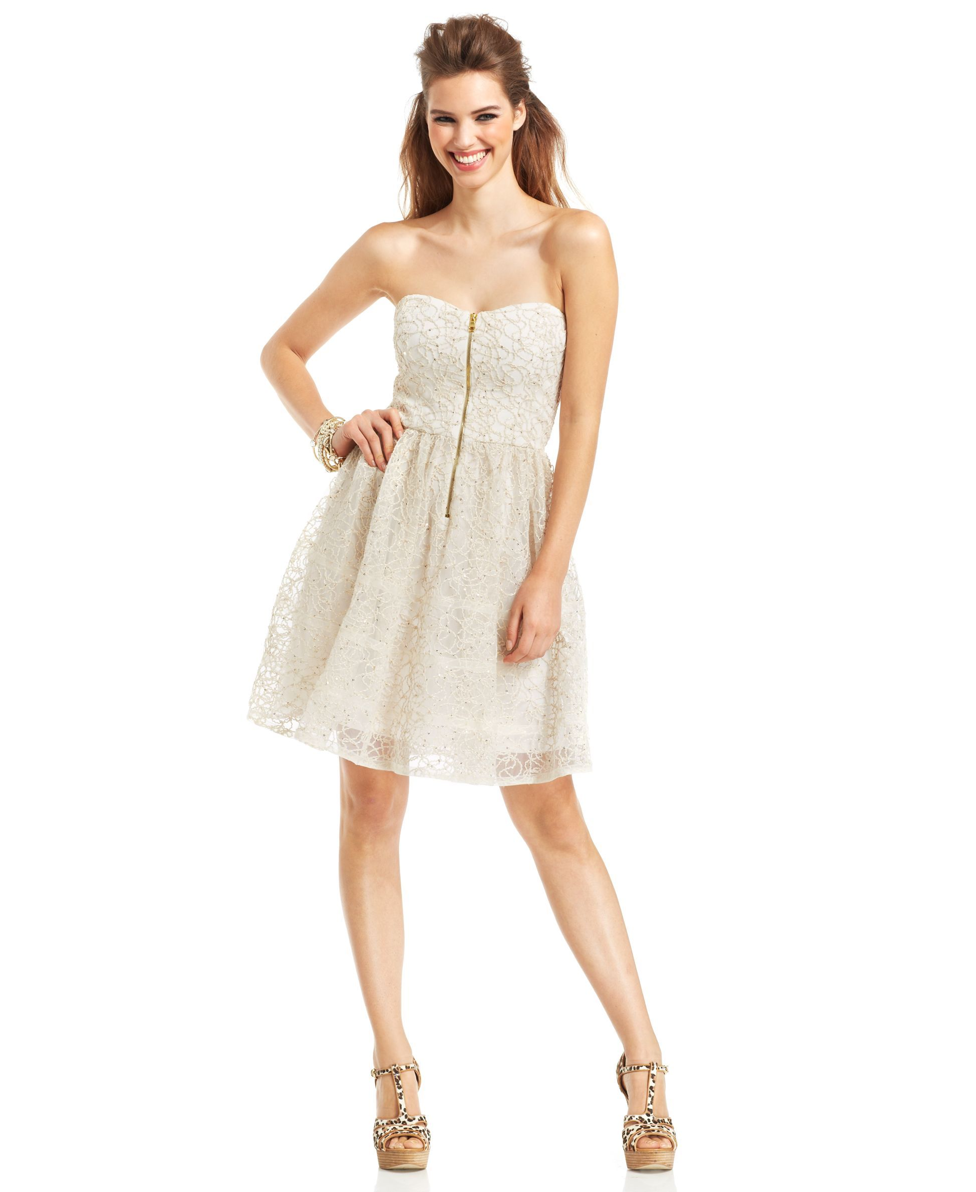 Betsey Johnson Strapless Embroidered Lace Sequined Dress