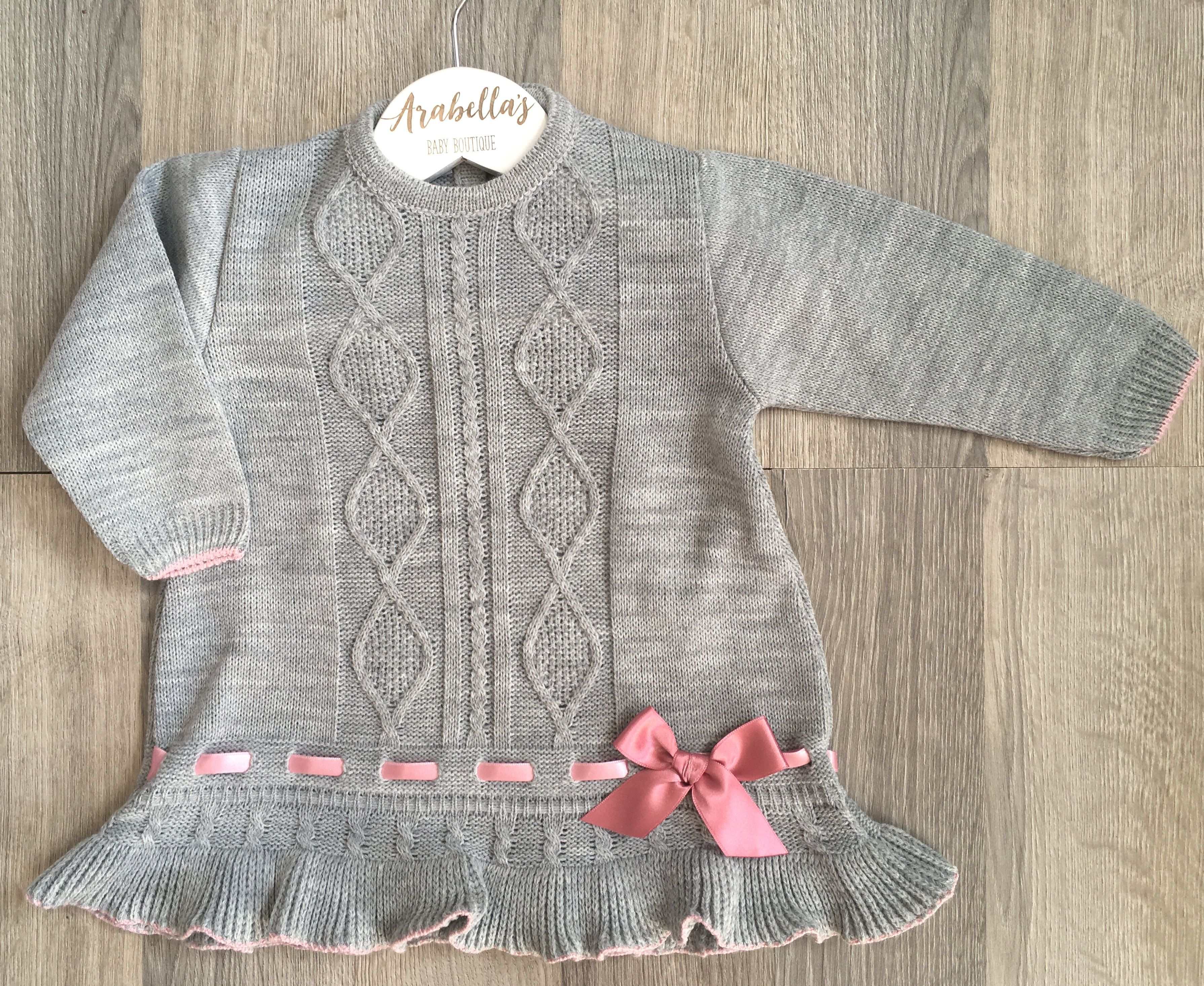 Spanish grey and pink knitted dress with pink satin bow Spanish