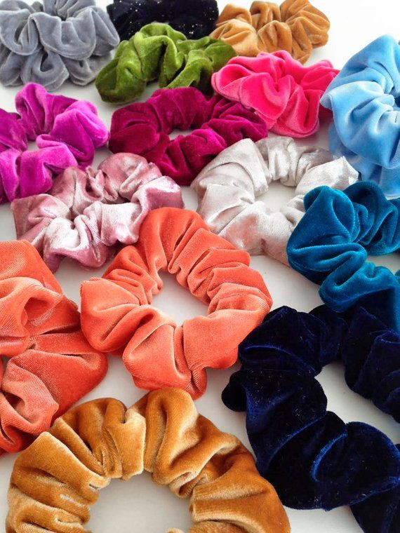 velvet hair holder, velvet scrunchie pack, halloween scrunchies, scrunchies set, big scrunchies, orange velvet scrunchie, fuchsia scrunchie