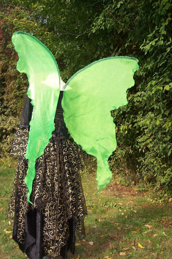 Lifesize Neon Lime Absinthe GREEN FAiRY WiNGS Boho Transformation Butterfly large Costume adult dress up goddess elf muse Renaissance witch : neon fairy costume  - Germanpascual.Com