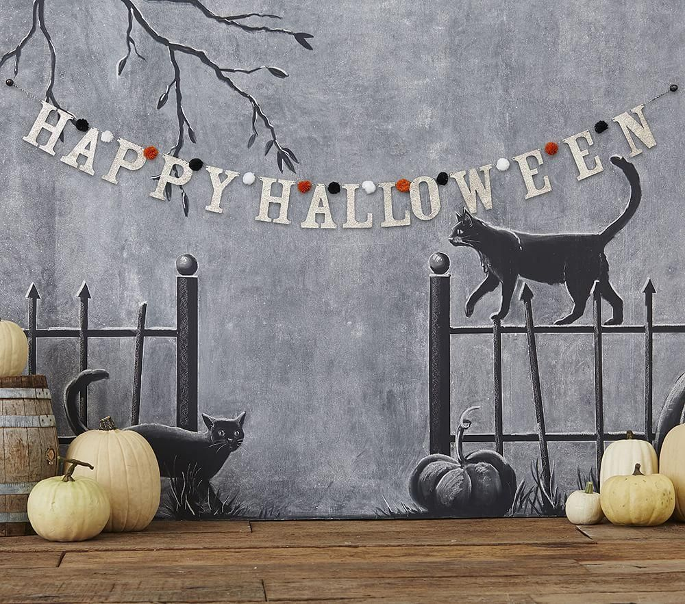 Happy Halloween Glitter Garland Pottery Barn Kids Halloween - Kids Halloween Decorations