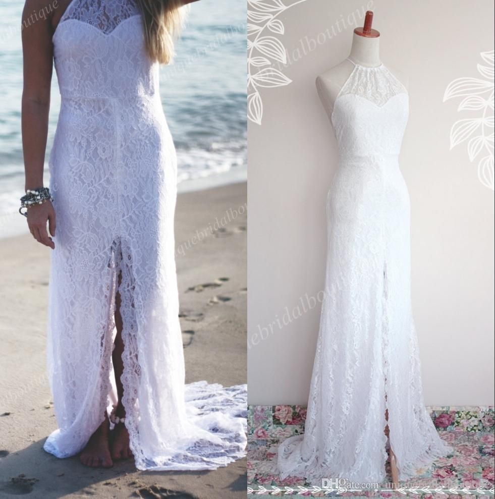 Beach wedding dresses with thighhigh slits u halter neck fully