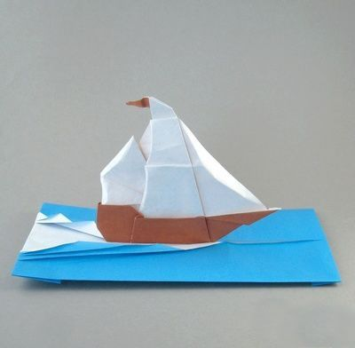 origami sailboat fold and cut pinterest origami