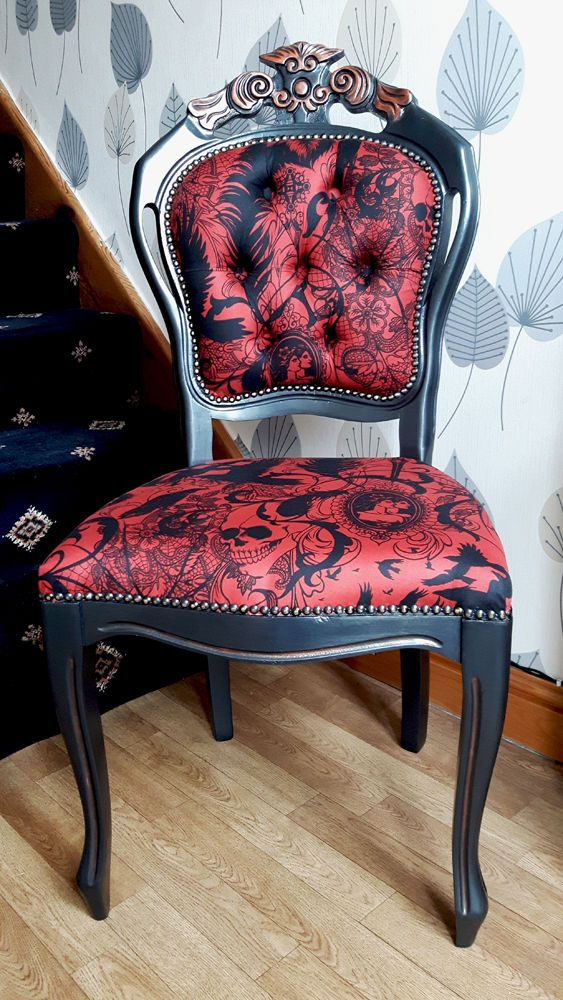 French Louis Bedroom Chair, Occasional, Tattoo, Skulls, Gothic, Ravens,  Birds