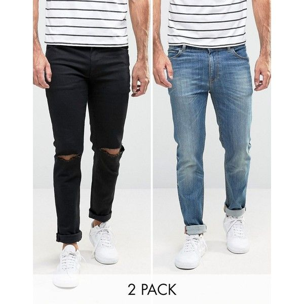 ASOS Skinny Jeans 2 Pack In Black With Knee Rips & Mid Blue SAVE (£58) ❤  liked on Polyvore featuring men's fashion, men's clothing, men's jeans,  multi, ...