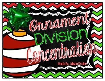 Students can practice their division facts with this fun Holiday Math Concentration Game!  I love to put this game in a baggie as a math center for student use during my Guided Math time!    Included are 16 multiplication equation cards (red ornaments) with 16 product cards (green ornaments).