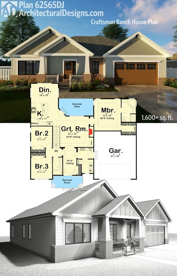 Architectural designs house plan 62565dj gives you almost 1700 square feet of one level living with 3 beds and 2 baths ready when you are