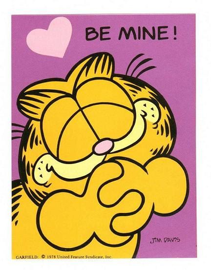Garfield Valentine Sticker Vintage 80s style 1 – Garfield Valentine Cards