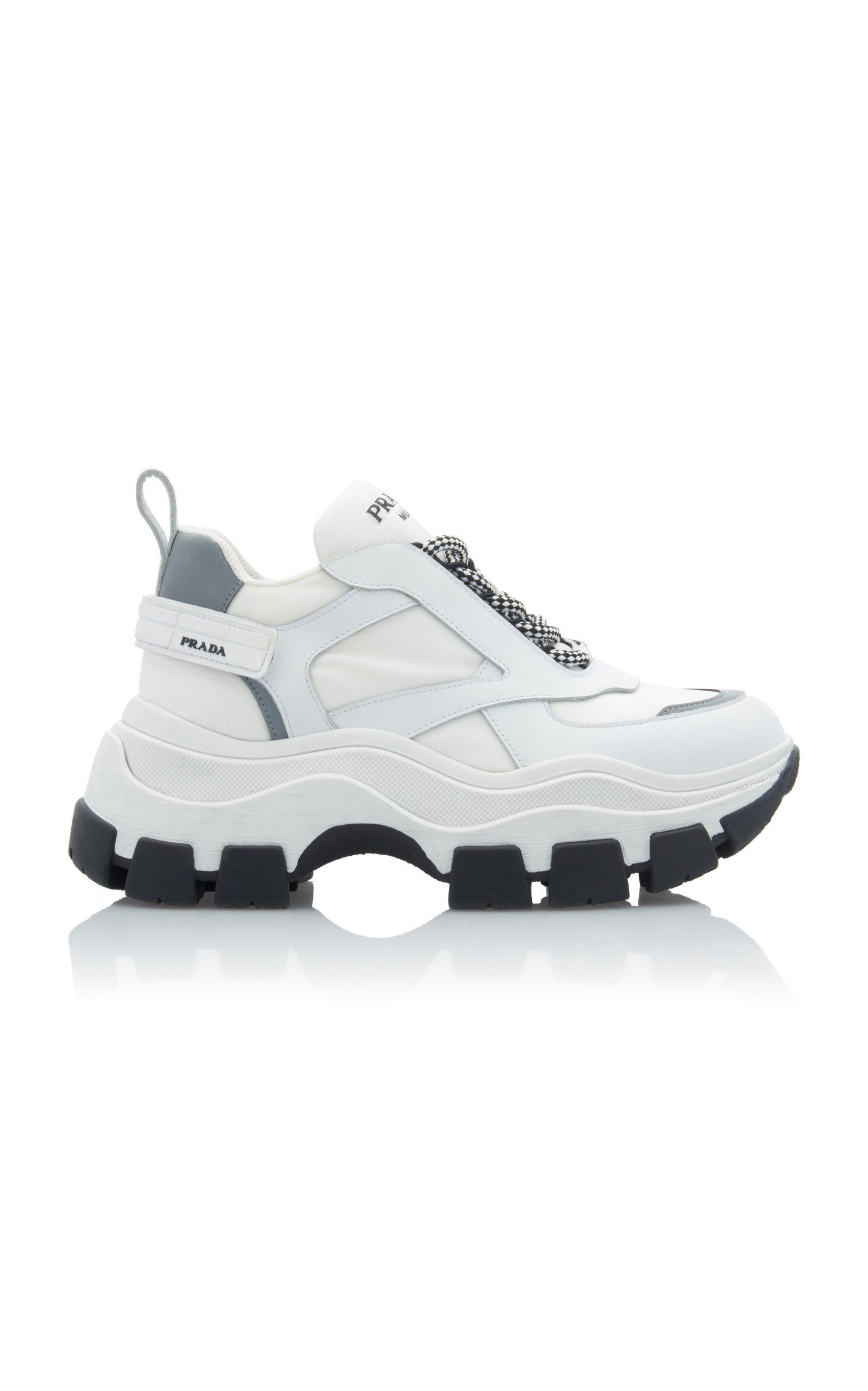 Prada Leather And Rubber Platform Sneakers in 2020