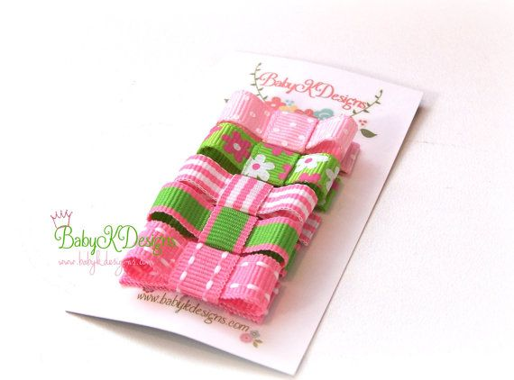 Baby K Designs Original Pink n Green Baby Hair Clips  1.25 Itty Bitty Baby Hair Clips or 1.75 Alligator Pinch Clips for Toddler and older girls  by #BabyKDesigns
