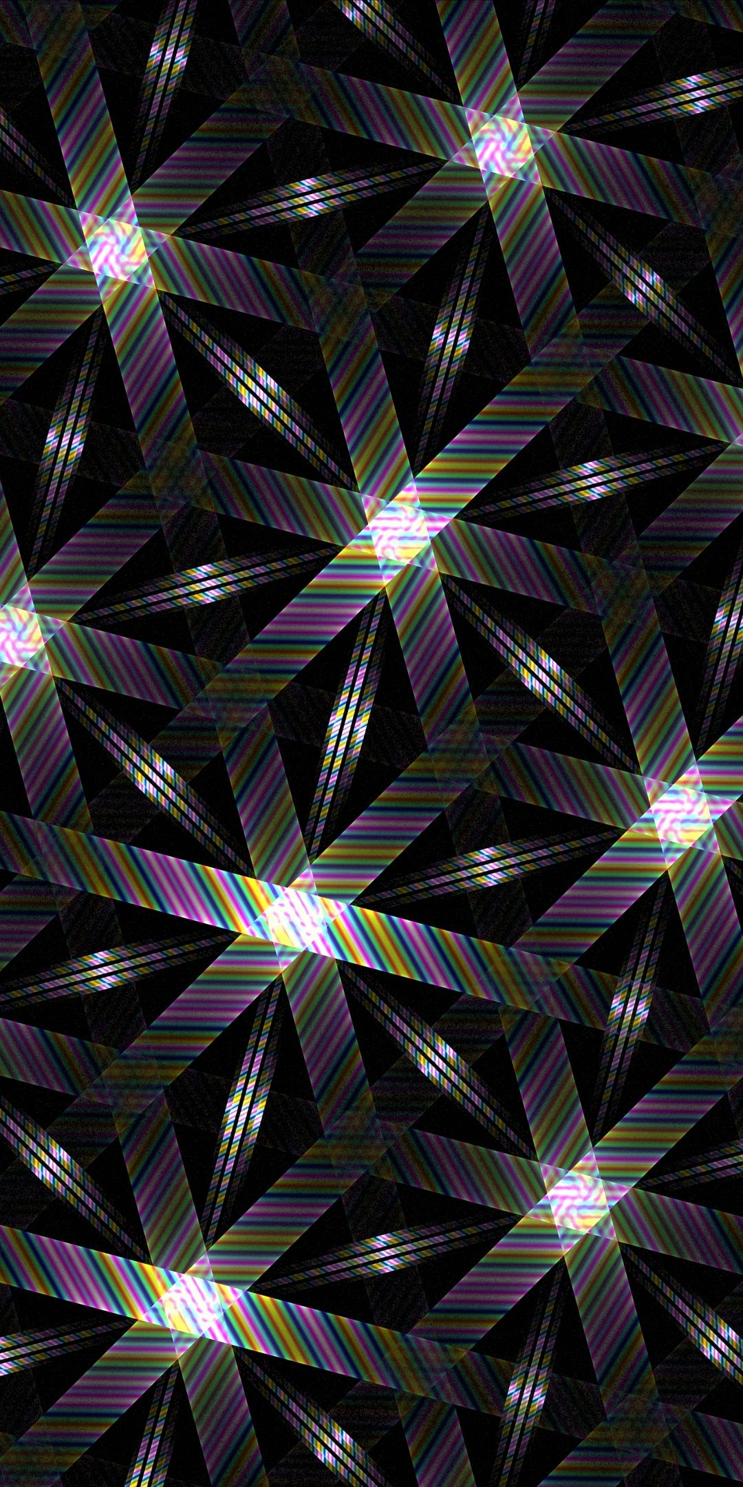 Hexagons Texture Black Colorful Stripes 1080x2160 Wallpaper In