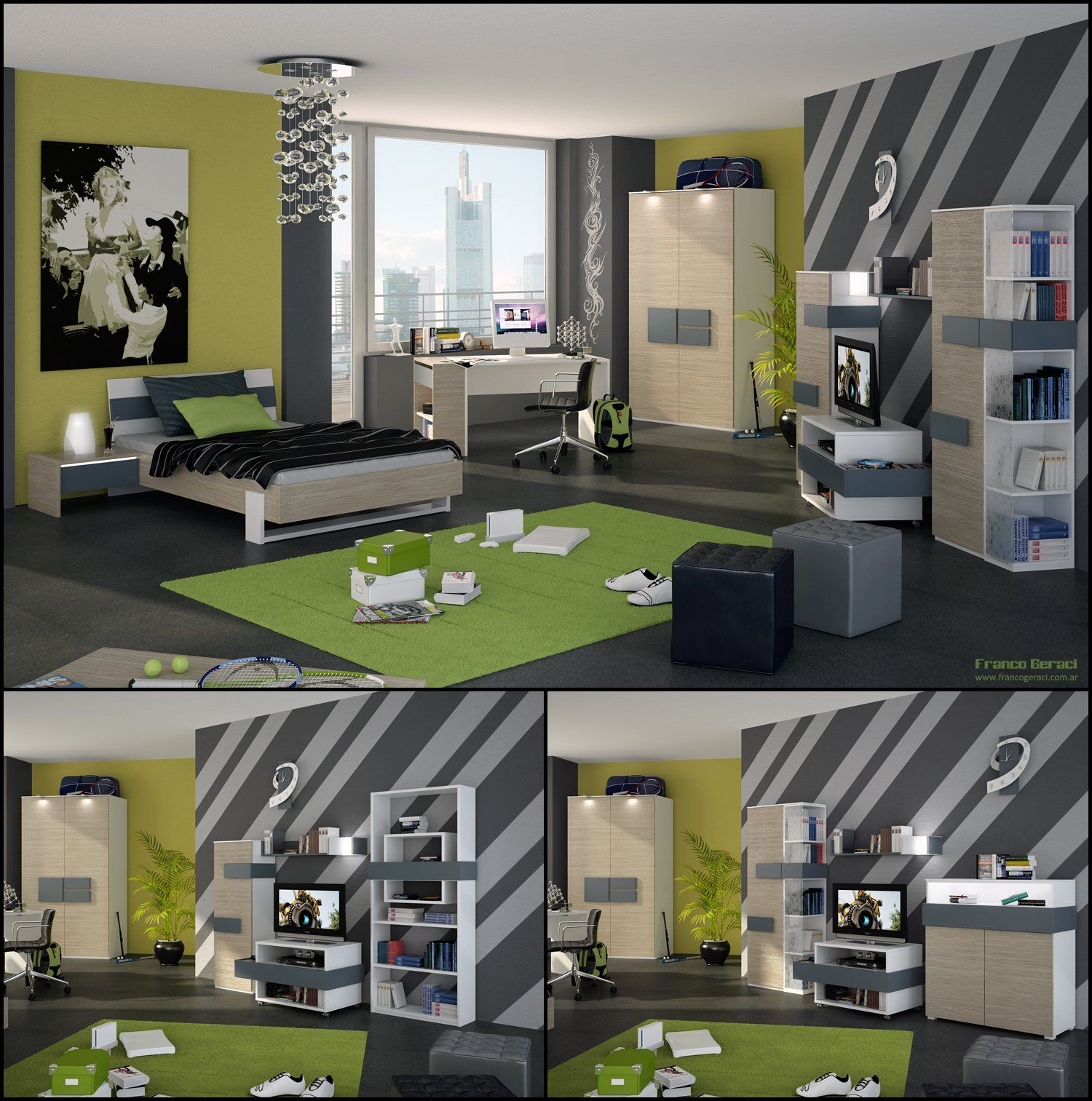 grey-bed-with-black-blanket-and-rectangular-green-rug-also-white