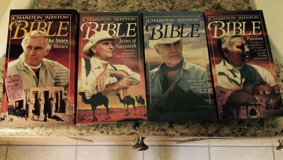 Charlton Heston Presents The Bible LOT of 4 VHS Powerful Story Telling 3 Sealed