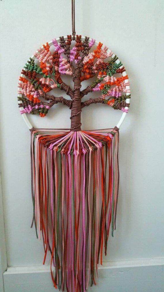 Herbst Baum des Lebens 9 Zoll/23 cm Durchmesser Dreamcatcher Boho Schlafzimmer Dekor Makramee Hoop Art bereit, Schiff versandkostenfrei #bohobedroom