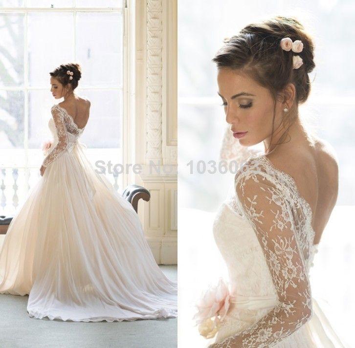 vestido de novias sheer lace long sleeves open back princess ball