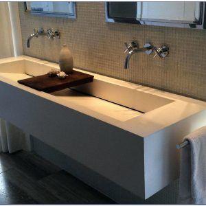 Single Bowl Double Faucet Bathroom Sink