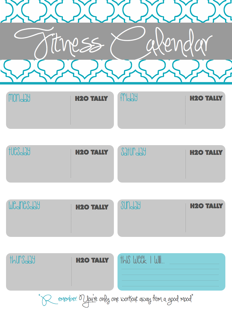 Printable Fitness Calendar I Made To Track Workouts Water Intake And Weekly Goals
