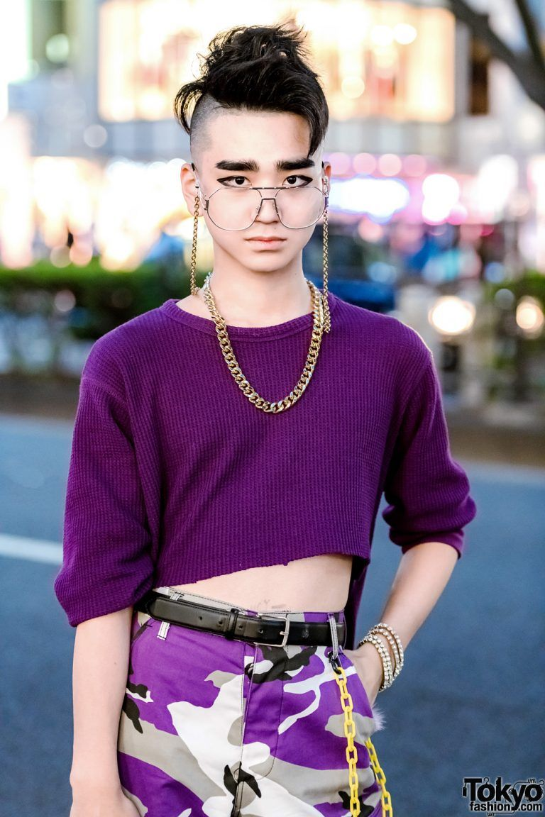 bc3d80527caf Purple Harajuku Street Styles w/ High-Low Sweater, Rothco Camo Pants, Never  Mind the XU Snakeskin Pants, Gallerie Vest & WEGO Backpack