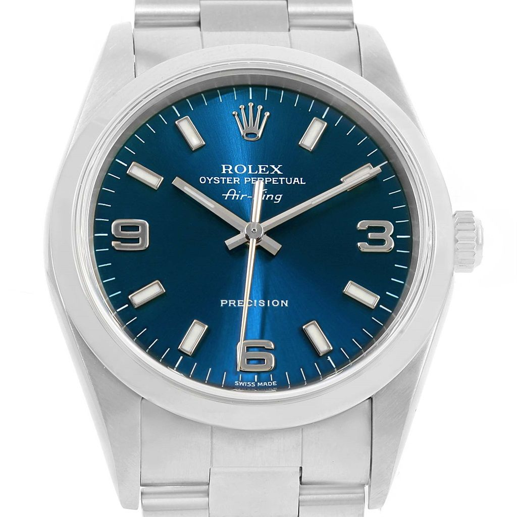 Rolex Air King Blue Dial Stainless Steel Mens Watch 14000