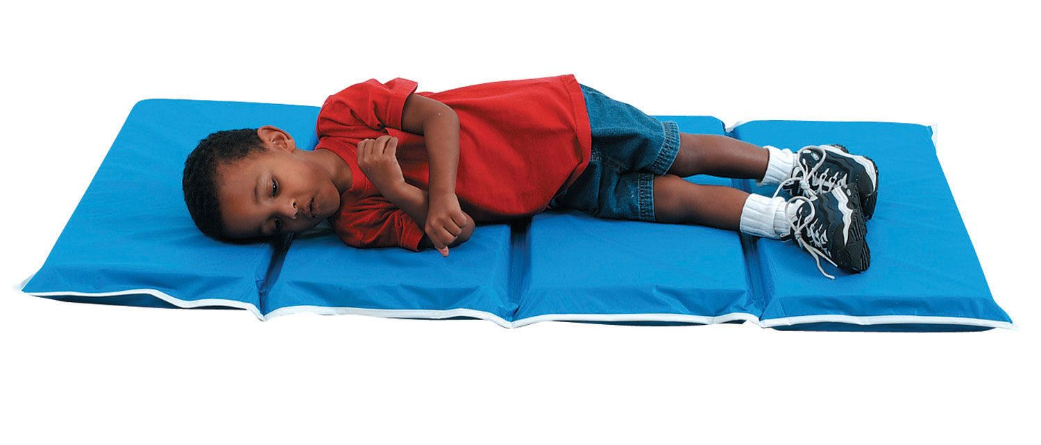 1 Tough Duty Folding Rest Mat Blue Preschool Storage Toddler Storage No Equipment Workout