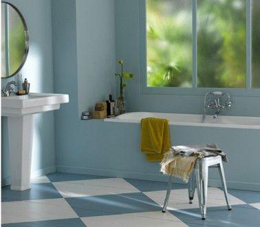 sol salle de bain couleur bleu v33