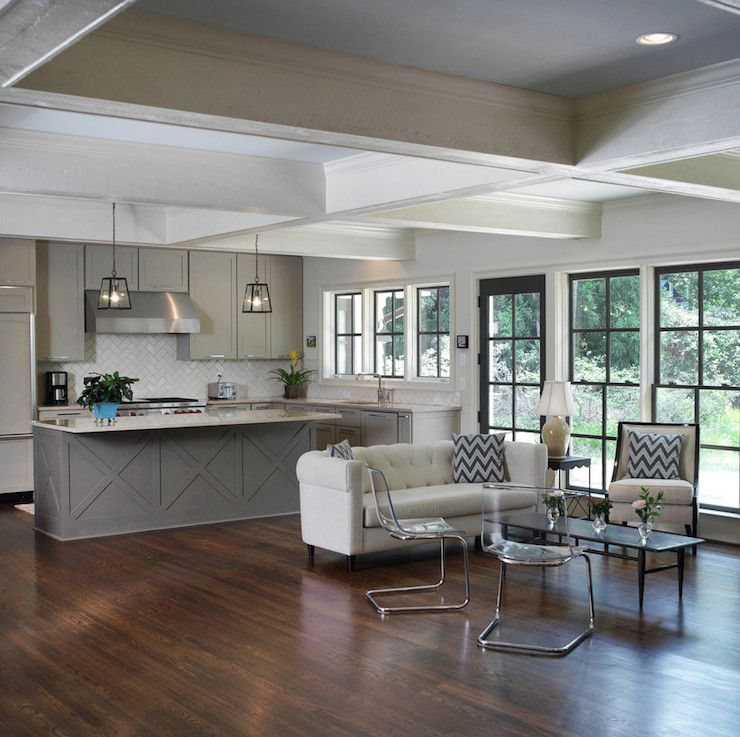 two-tone tan & taupe kitchen: Ben Moore Berkshire Beige cabinets & Ben Moore Texas Taupe island #paint